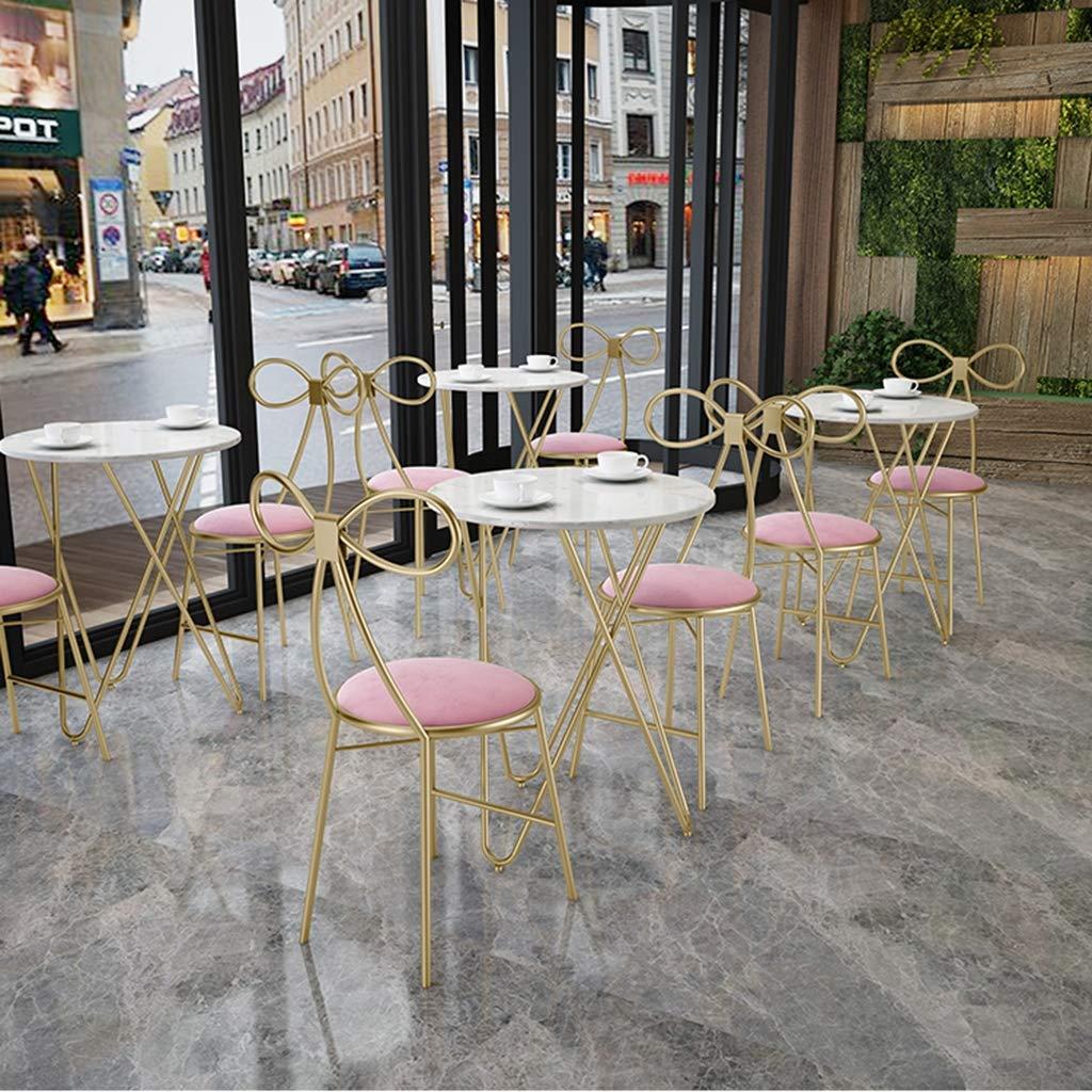 XIAOZHUZHU Klädbordsstol, matstol ryggstöd flickor sovrum sminkstol metallstol restaurang café lounge stol hem pall, grön Rosa