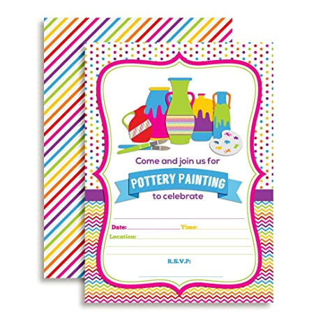 Amazon pottery painting party fill in birthday invitations set pottery painting party fill in birthday invitations set of 10 with envelopes stopboris Images