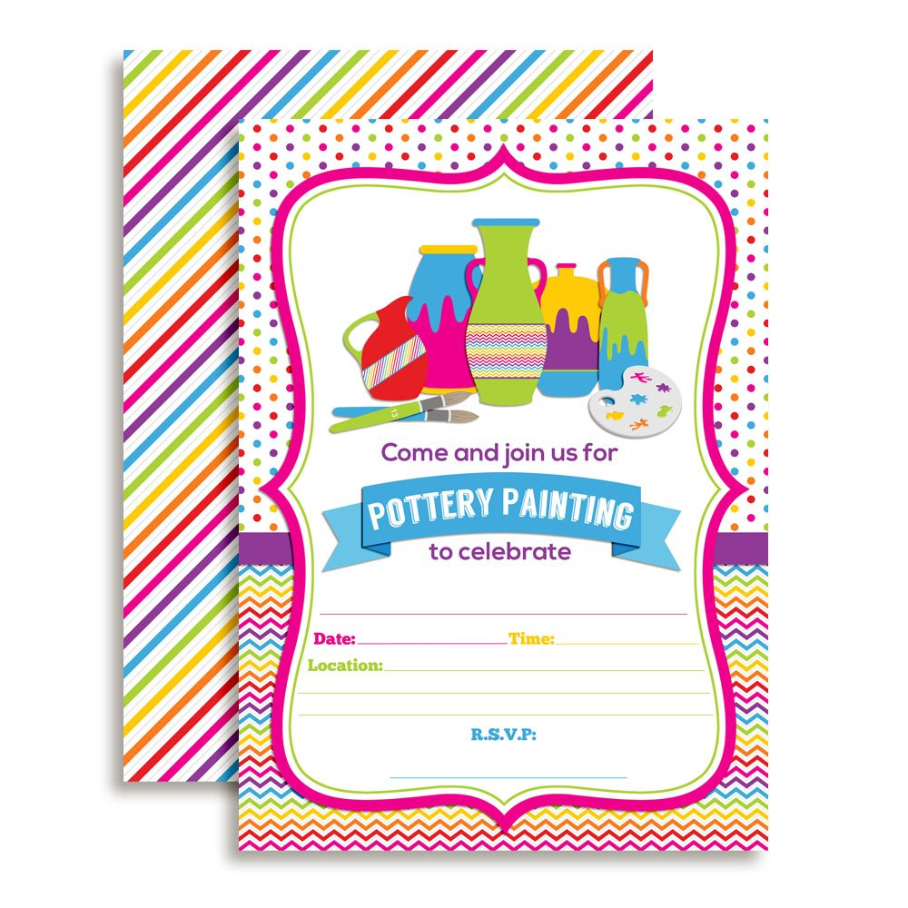 Pottery Painting Party Fill In Birthday Invitations set of 10 with envelopes by Amanda Creation