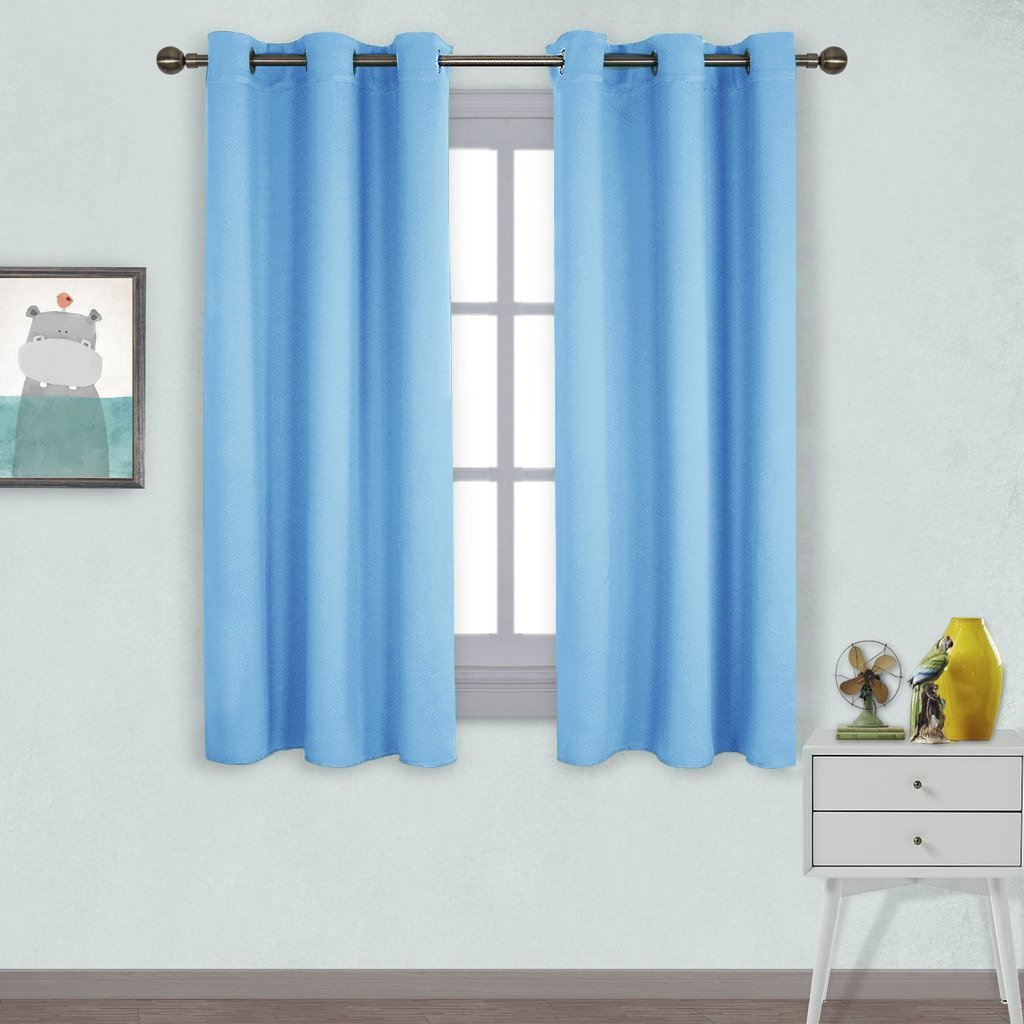 NICETOWN Home Fashion Thermal Insulated Solid Grommet Blackout Curtain Panels for Bedroom Blue