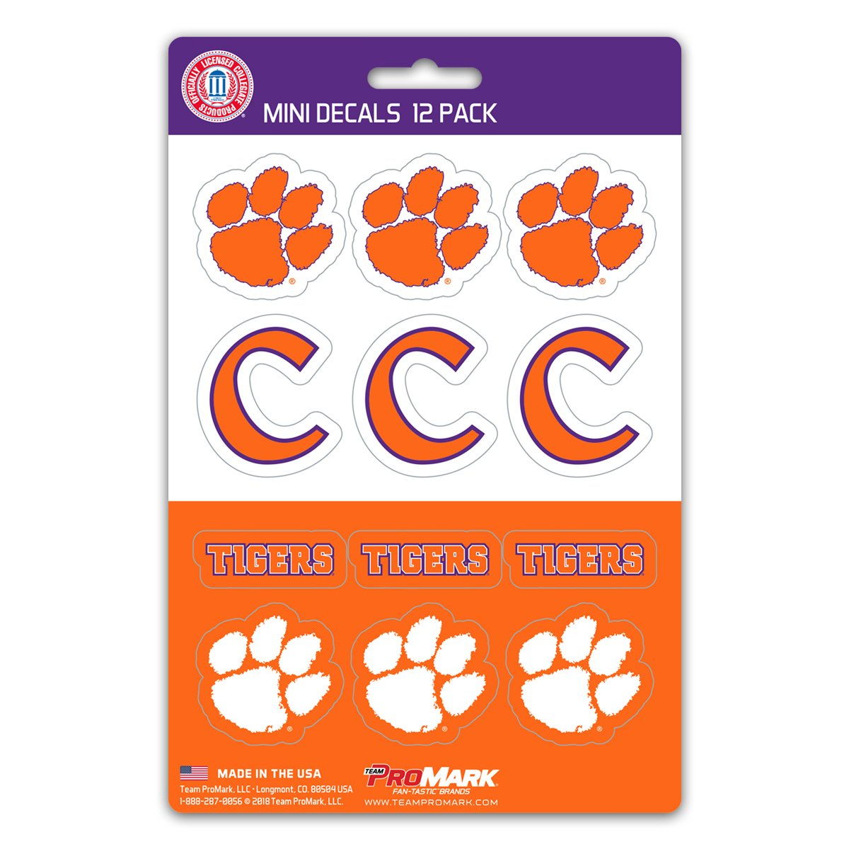 12 Pack One Size ProMark NCAA Clemson Tigers Decal Set Mini Team Color
