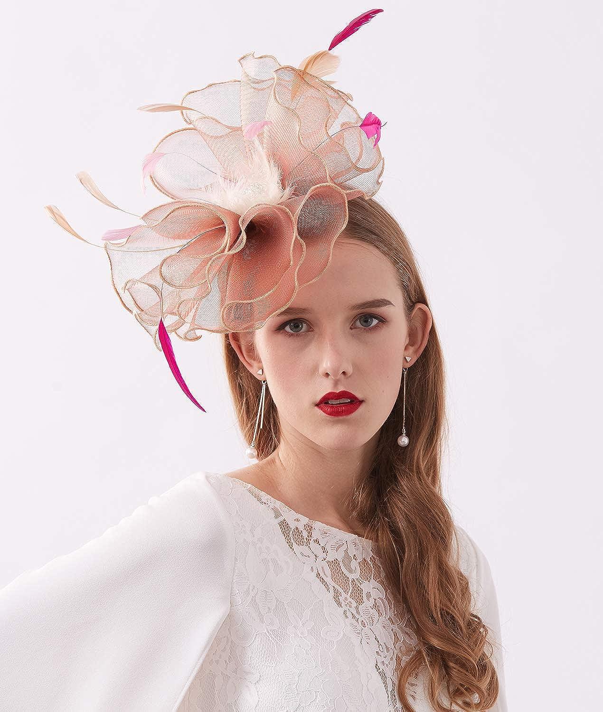 Z/&X Women Organza Church Hat Wide Brim Flower Kentucky Derby Fascinator Hat