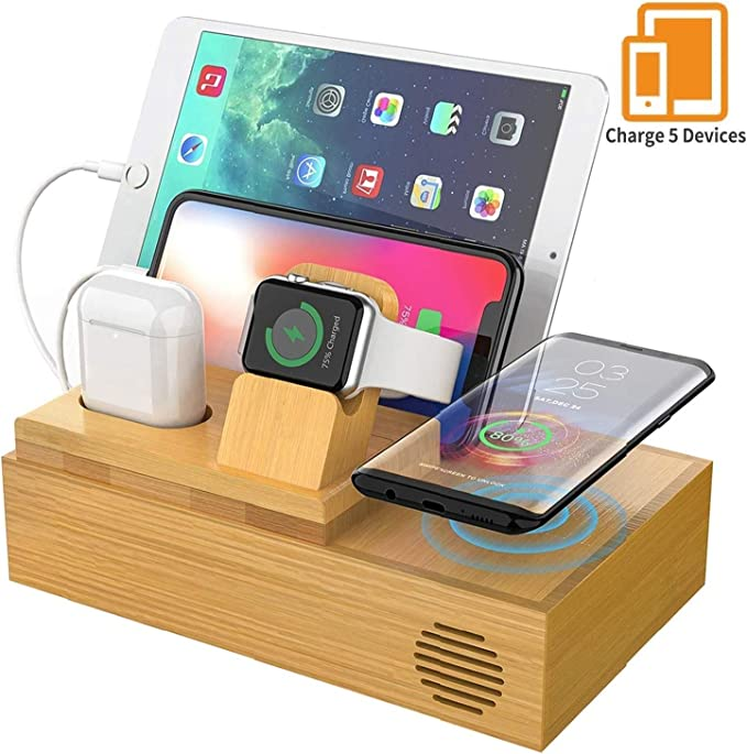 Wireless Bamboo Wood Charger With Cables & Cord, Charging Station for Multiple Devices, Dock Docking station for Apple Watch, AirPods. Wireless