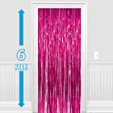Party Propz Set of 2 Metallic Pink Foil Curtain Fringe Party Decoration Door Curtains (3 X 6 Feet)