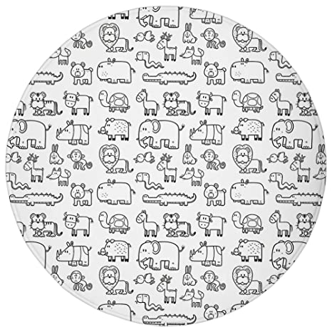 Amazon.com: Round Rug Mat Carpet,Nursery,Wild Animals Set in ...
