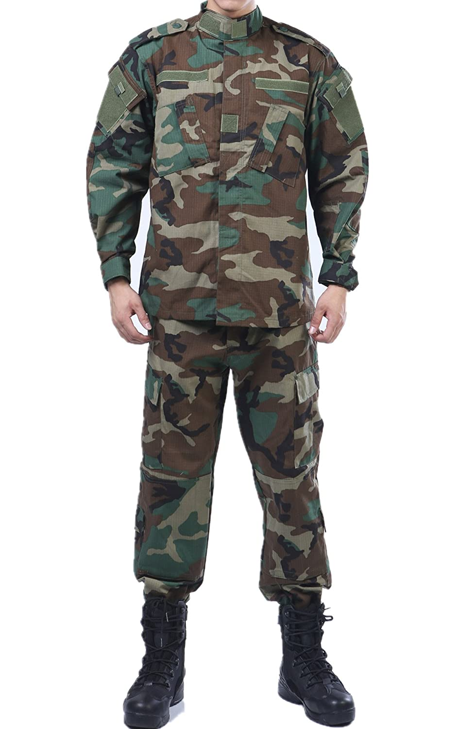 U.S. Army Woodland Camo BDU Combat Coat Pant Uniform Sets Military Jacket Shirt & Pants Suit