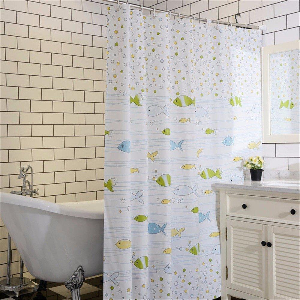 Amazon Qingv Bathroom Shower Curtains Sea Fish Bubble Curtains180x180 Cm Home Kitchen