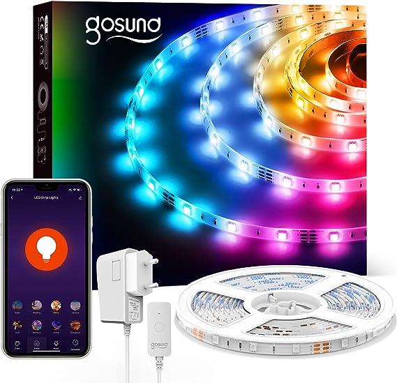 Gosund 5m Tira de Luces LED Iluminación RGB 5050, Control Remoto por Móvil, Compatible con Alexa Google Home, Múlticolor y Brillo Ajustable, Led Strip Light de 16.4ft para Habitación Cocina y Fiesta: