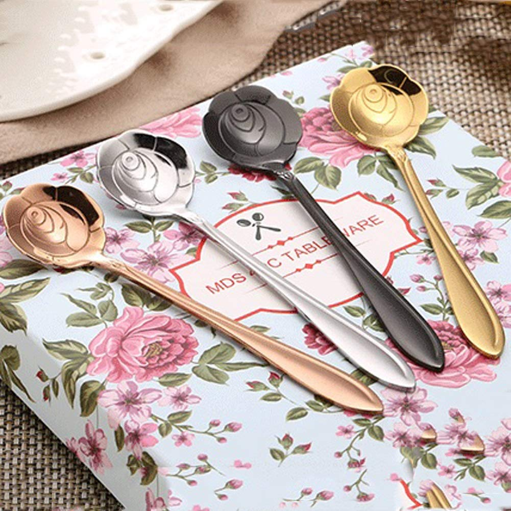 WDNMD Stainless Steel Tea Spoon Long Handle Dinner Spoon Flower Shape Coffee Spoons Set Smooth Curve Desert Spoon YY-71 (Silver) by WDNMD (Image #4)