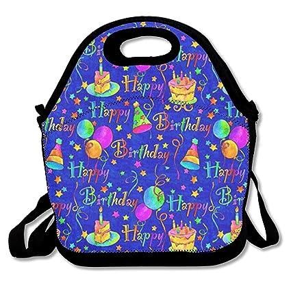 Amazon Com Klnsha7 Happy Birthday Cake Blue Lunch Bag Lunch Tote