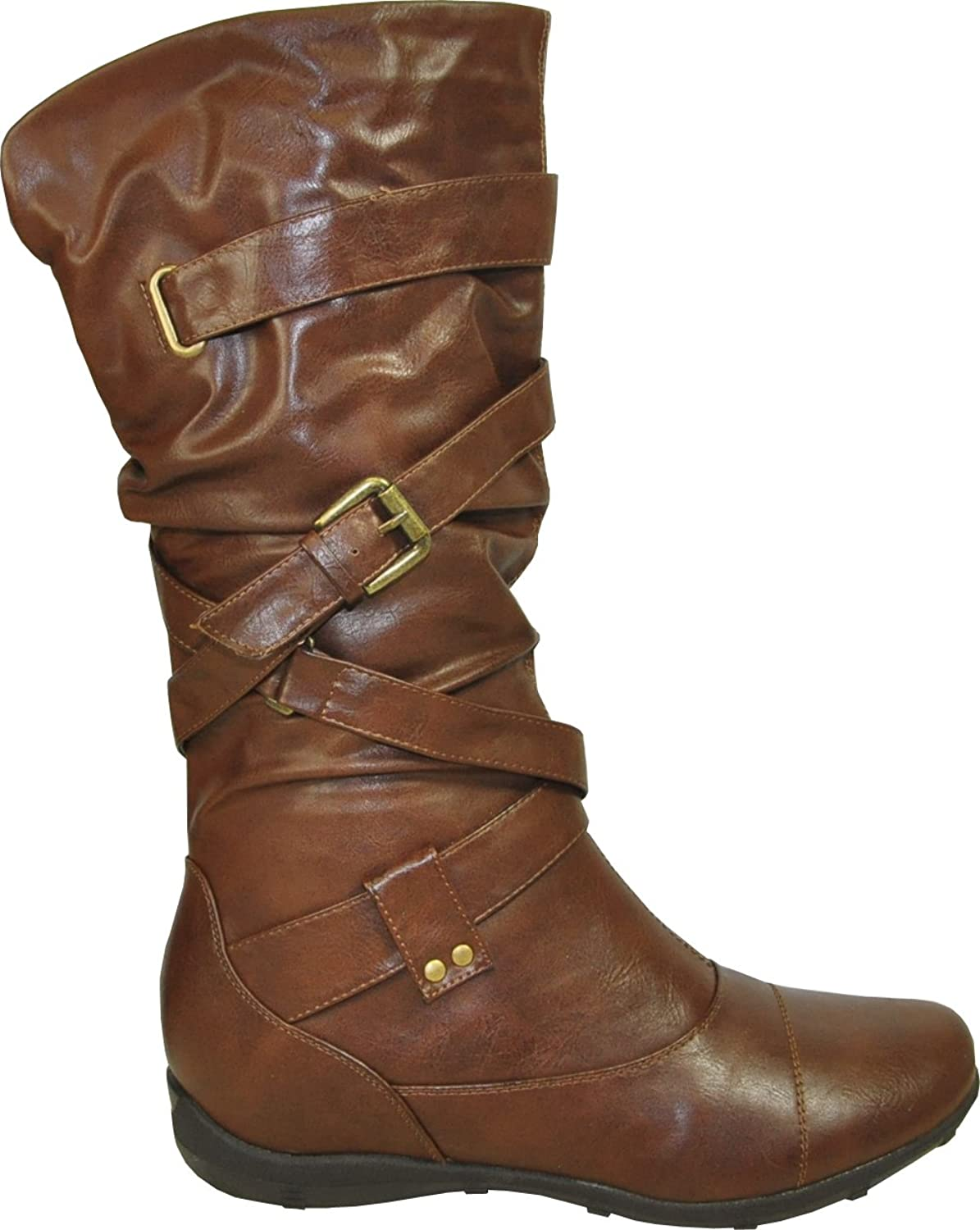 Deluxe Adult Costumes - Assassin's Creed Women's Casual Buckle Straps Round Toe Brown Faux Leather Boots