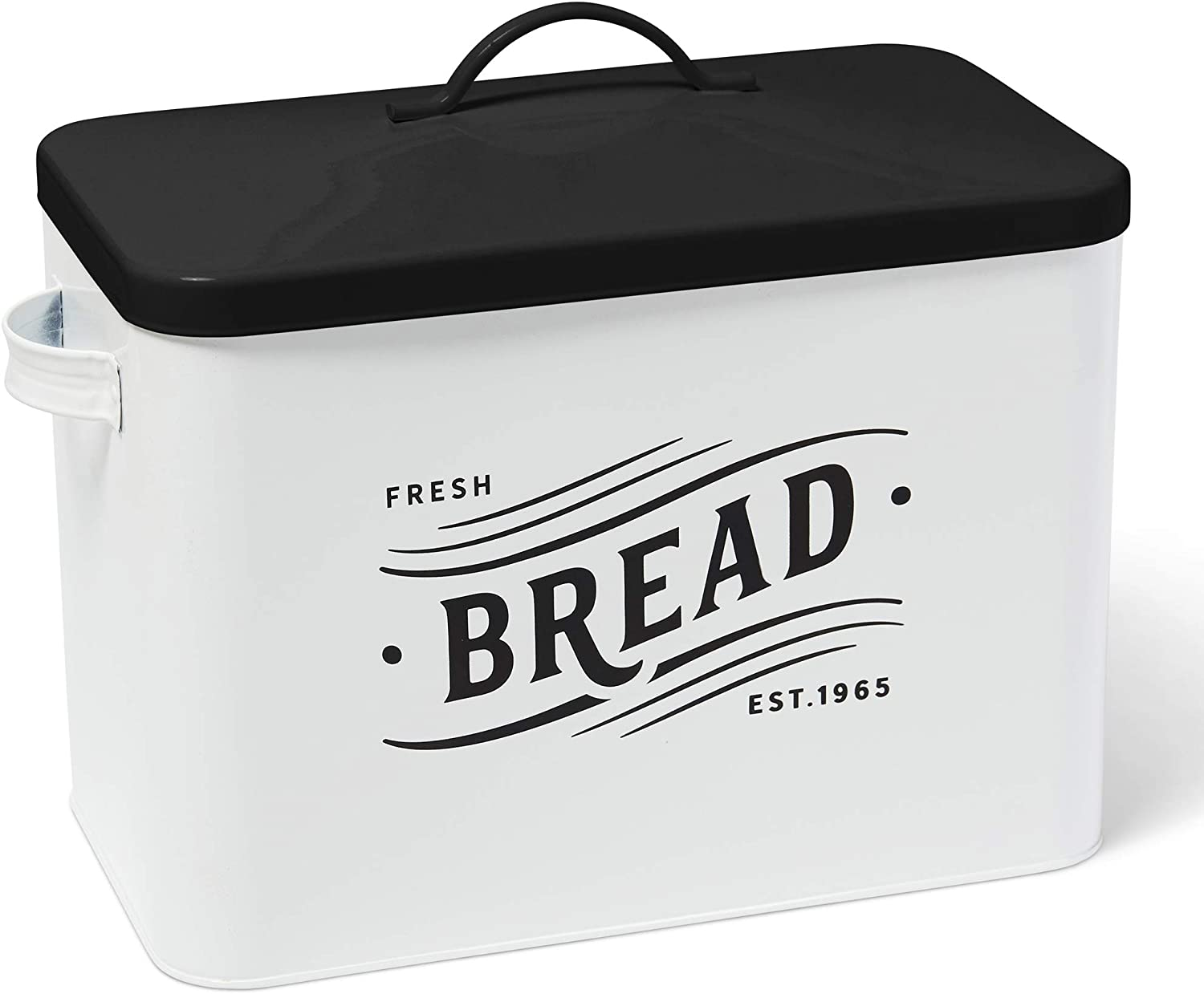 Sunsnap Extra Large Metal Bread Box for Kitchen Counter | High Capacity Space-Saving Storage Container Bin with Lid which holds 2+ Loaves - Vintage Farmhouse Lettering (White/Black)