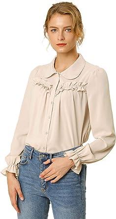 Allegra K Blusa Camisa Tops con Botones Manga Larga Puño Elástico Detalle De Volantes para Mujeres: Amazon.es: Ropa y accesorios