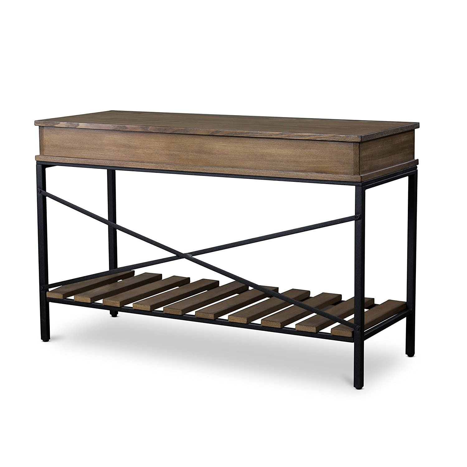 Wood And Metal Console Part - 25: Amazon.com: Baxton Studio Newcastle Wood And Metal Criss-Cross Console  Table, Brown: Kitchen U0026 Dining
