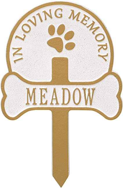 Grave//Cemetery Decor Hearts Personalized Pet Memorial Plaque//Sign Paws