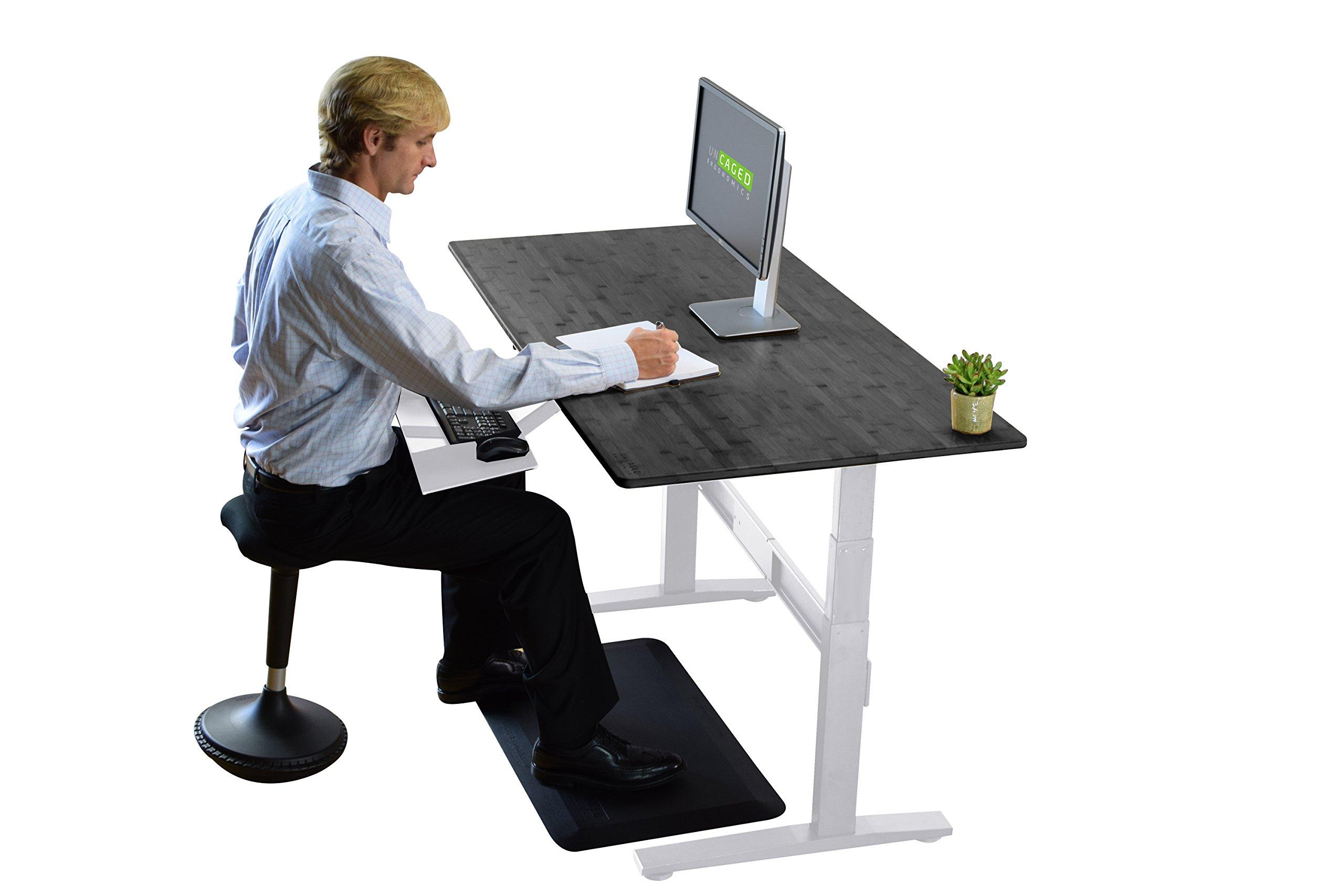 RISE UP Electric Adjustable Height Standing Desk + Beautiful Black Bamboo Desktop| Memory Keypad| 2 Motors| Affordable Ergonomic Sit Stand Office Desk by Uncaged Ergonomics (Image #3)