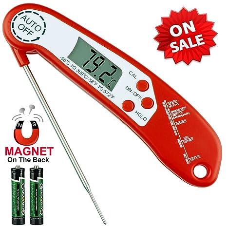 Termómetro digital para alimentos, lectura instantánea, termómetro de carne con sonda plegable, sistema de encendido y ...