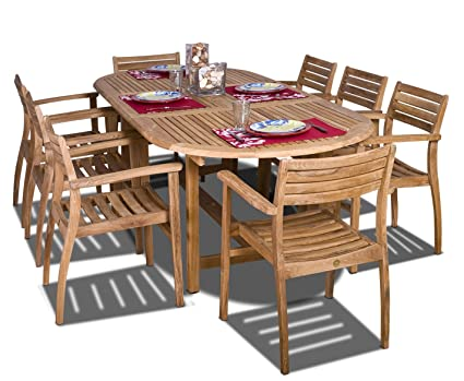 Superb Amazonia Teak Coventry 9 Piece Teak Oval Dining Set