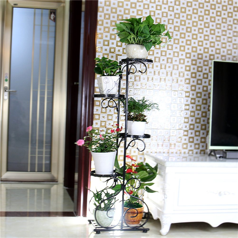 Wrought iron/multi-storey flower racks/green rose flower/indoor living room balcony5floor pots shelf-B by PYEVZCADQF