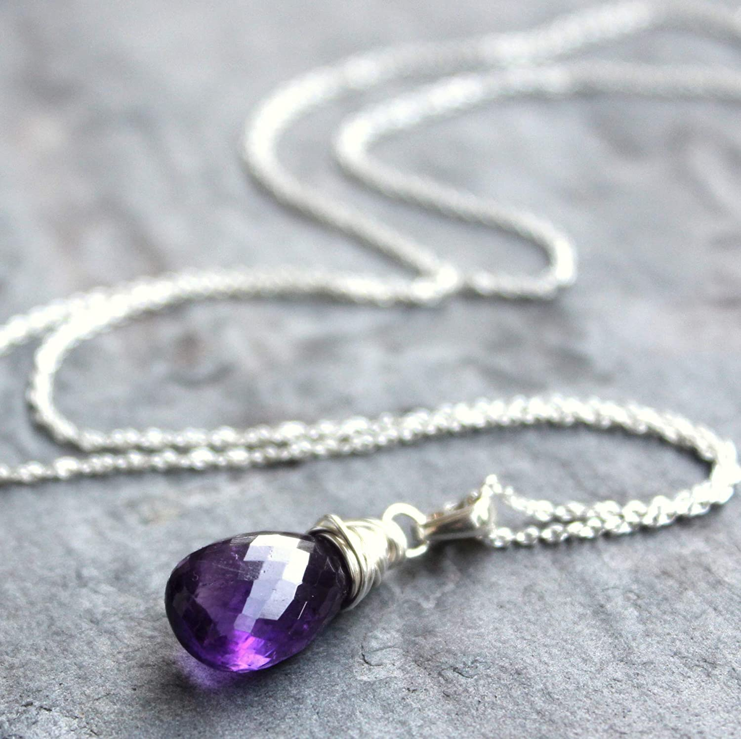 AMETHYST  GEMSTONE  PENDANT NECKLACE  WIRE WRAPPED STERLING SILVER