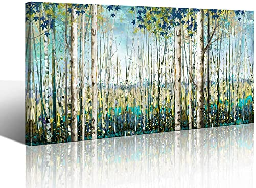 Large Wall Art Decor Green View White Birch Forest Canvas Painting Nature Plant Picture Wildlife Trees Landscape Artwork Home Living Room Bedroom Office Wall Decoration Hand-Painted Wall Art 24×48