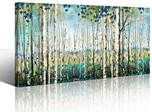 Green View White Birch Forest Canvas Painting Wall Art Decor Nature Plant Picture Wildlife Trees Landscape Artwork Home Living Room Bedroom Office Wall Decoration Hand-Painted Wall Art