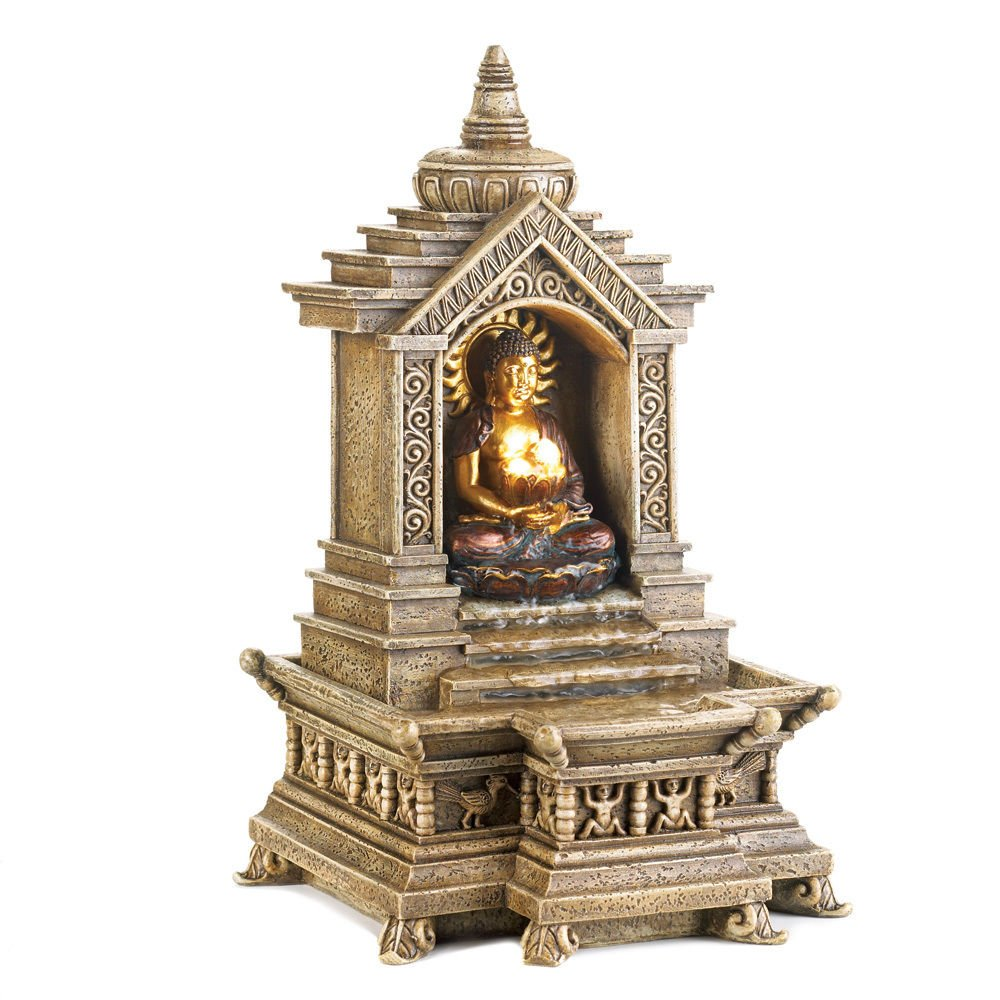 GHP 7''x6.5''x12'' Resin Thai Buddah Temple Water Fountain by Globe House Products