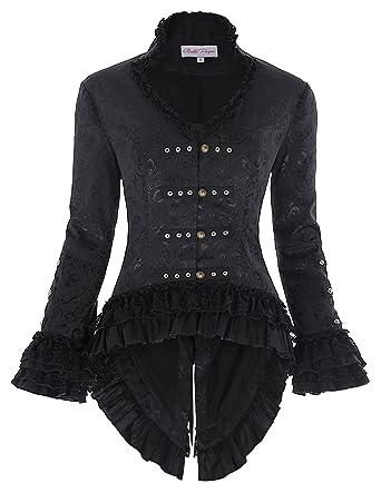 1548945788 Belle Poque Black Steampunk Gothic Victorian Jacquard Jacket Corset Style  BP562-1 S Black