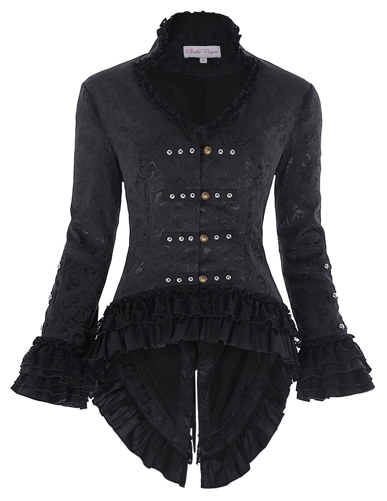 Women¡¯s Vintage Victorian Jacquard Coat Tops Corset Style BP562-1 Black Size M