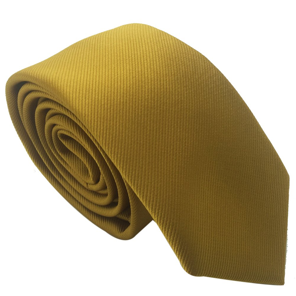 Men's Skinny Tie Necktie with Stripe Textured 6 cm / 2.4inches- Various Colors (Yellow) HongJi e-Commerce