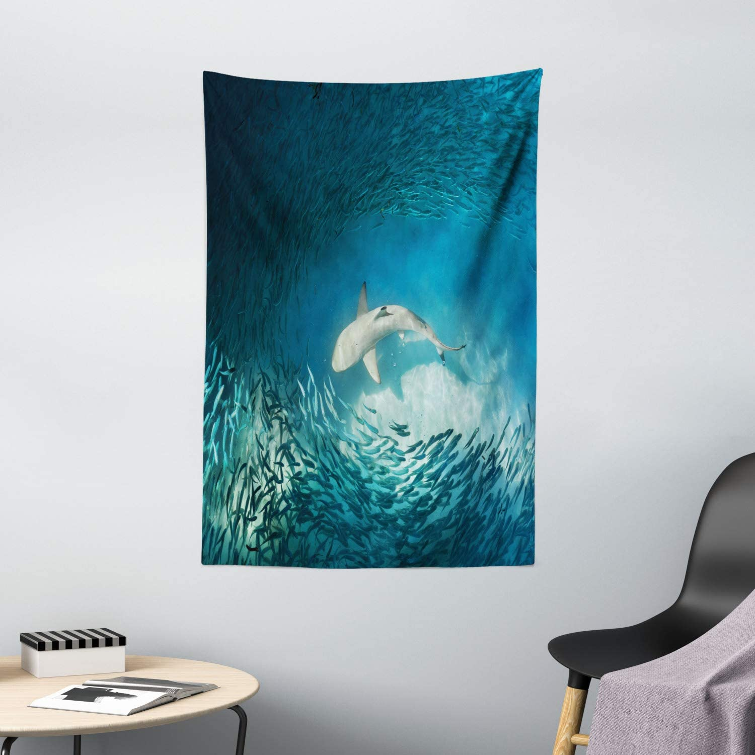 "Ambesonne Sea Animals Tapestry, Shark and Small Fish Ocean Wilderness Waterscape Wildlife Nature Theme Picture, Wall Hanging for Bedroom Living Room Dorm Decor, 40"" X 60"", Teal Beige"