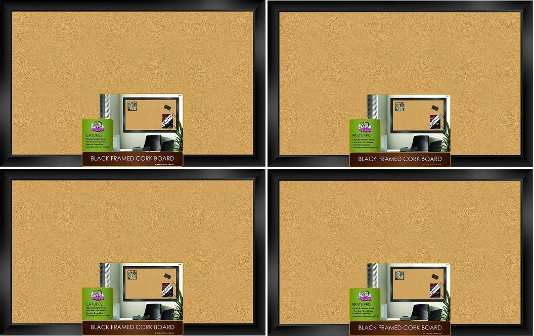 The Board Dudes Black Framed Cork Board 35'' X 22'' (Pack of 4)