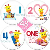 "LIMITED PROMO 48 Pack of 4"" Premium Baby Monthly Stickers By KiddosArt. 1 Lilly The Giraffe Sticker Per Month of Your Baby's First Year Growth, Milestones and Holidays. Month Sticker for Boy or Girl"