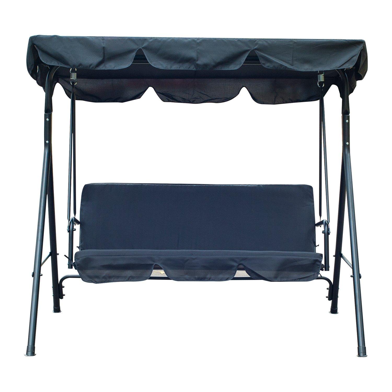 Swell Outsunny 3 Person Canopy Porch Swing Black Inzonedesignstudio Interior Chair Design Inzonedesignstudiocom