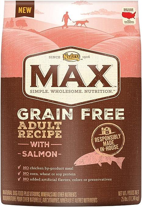 Nutro MAX Adultos sin Grano con salmón seco Perro Alimentos, 25 kg ...