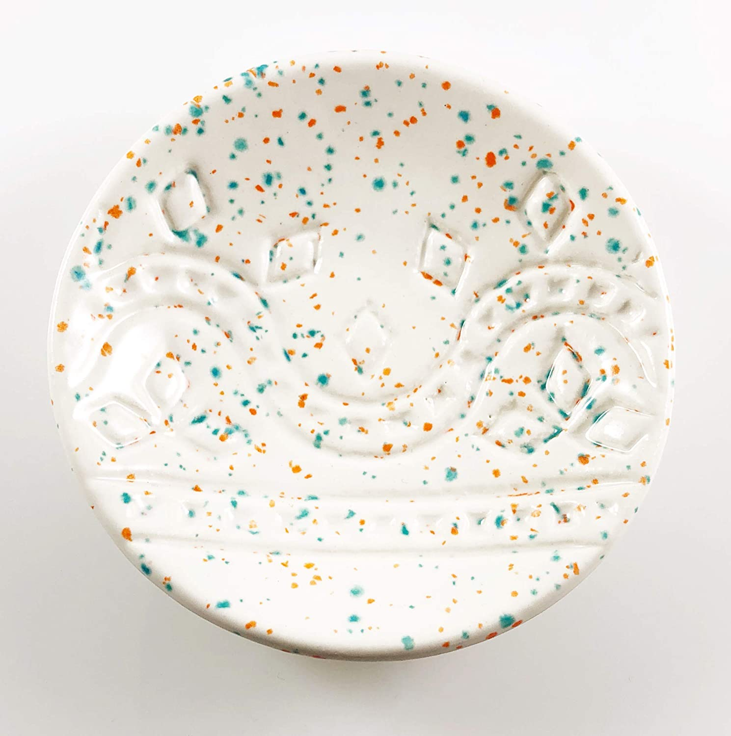 Speckled White Ring Dish - Handmade Jewelry Bowl with confetti glaze