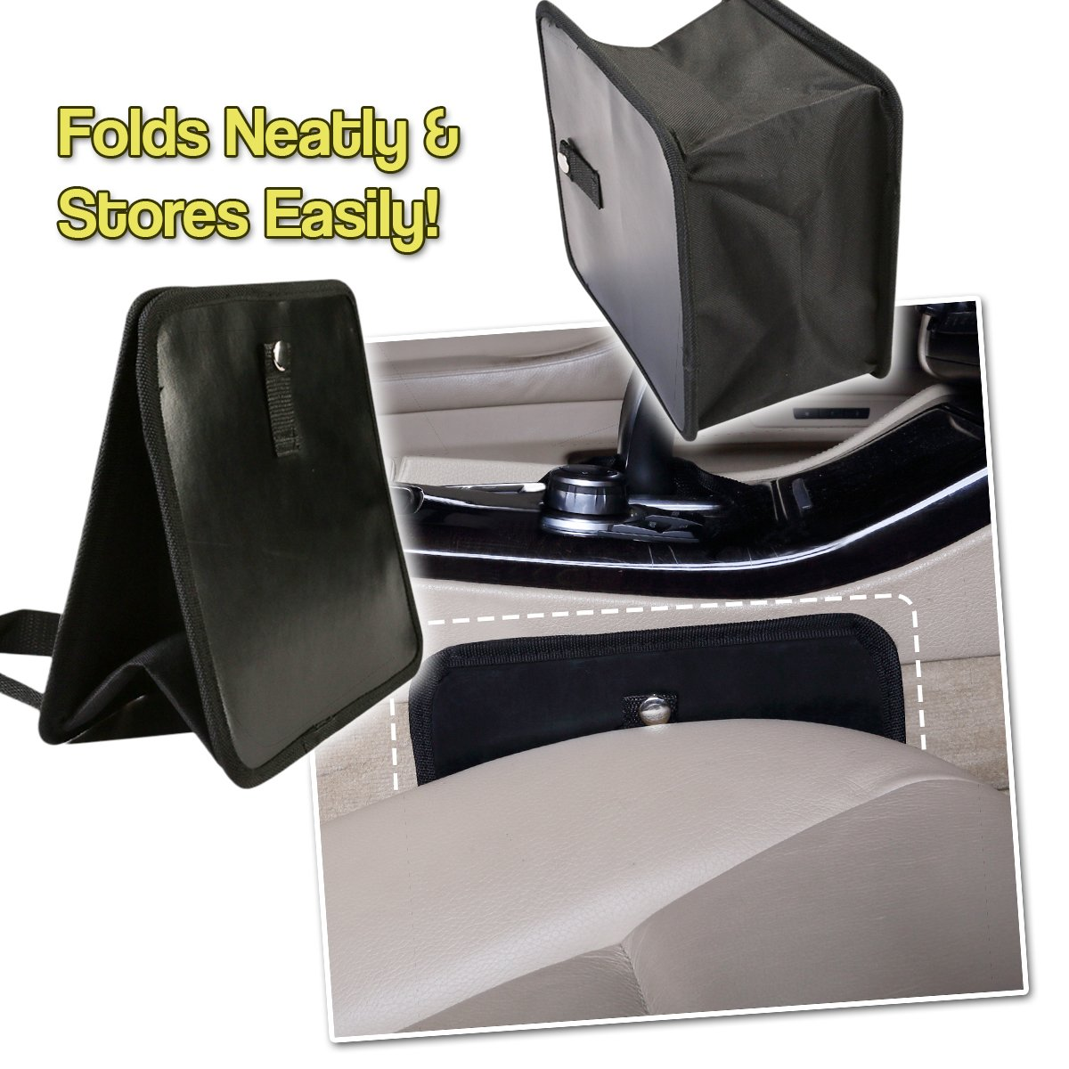 Classic Black Premium Quality Black Universal Traveling Portable Car Trash Can Comfort Wheels OR0028 Zone Tech Fully Leak Proof Vehicle Waste Bag