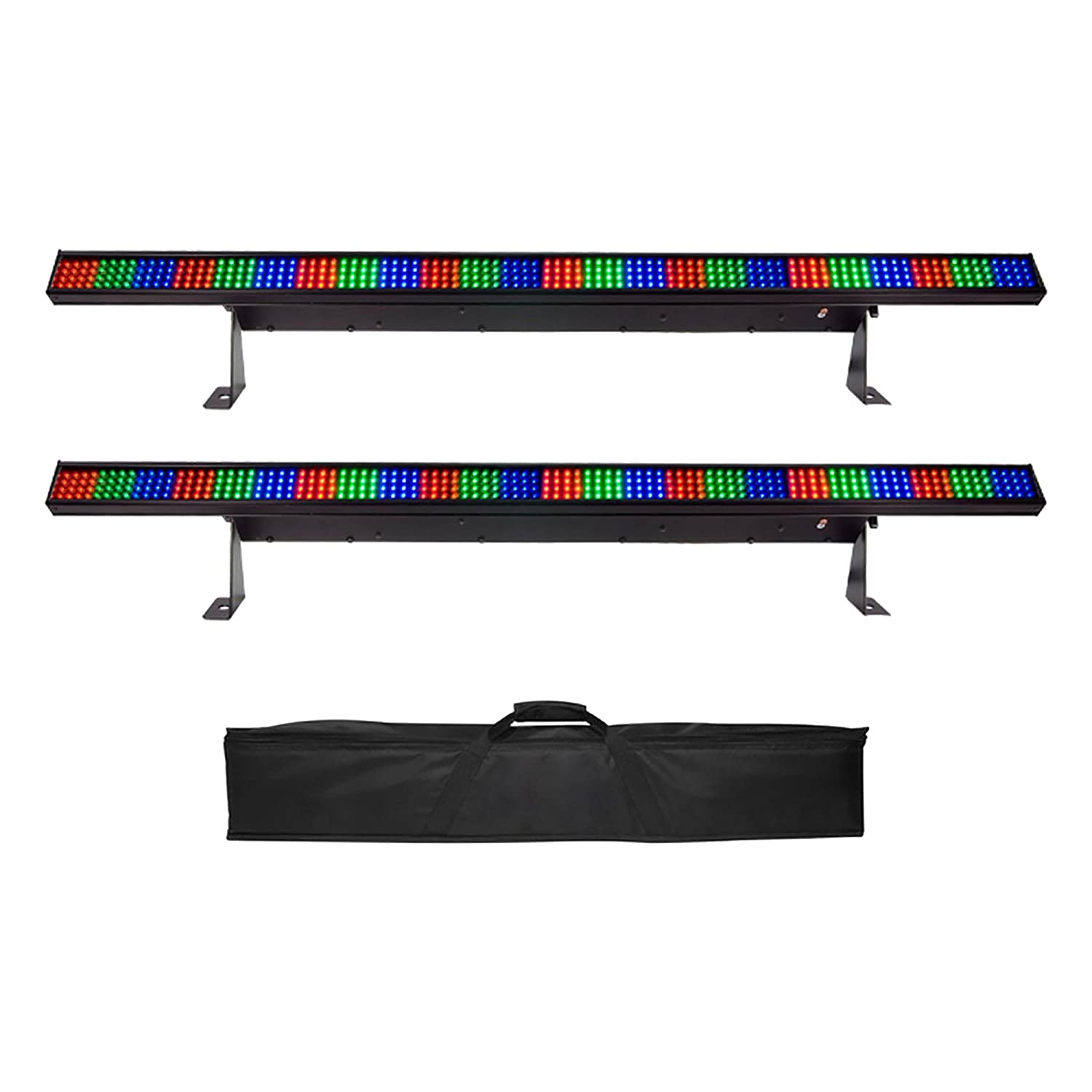 Chauvet DJ COLORstrip 4 Channel DMX LED RGB Light Bar (2 Pack) + Soft Case Bag