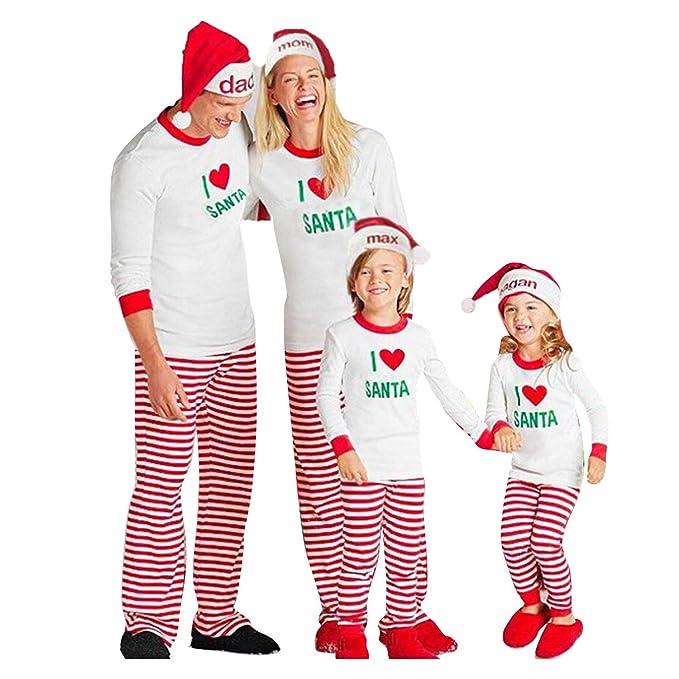 Juqilu Conjuntos de Pijamas de Navidad Ropa de Dormir a Juego con la Familia Ropa de Dormir Traje de Ropa para el hogar I Love Santa para Father Mother and ...