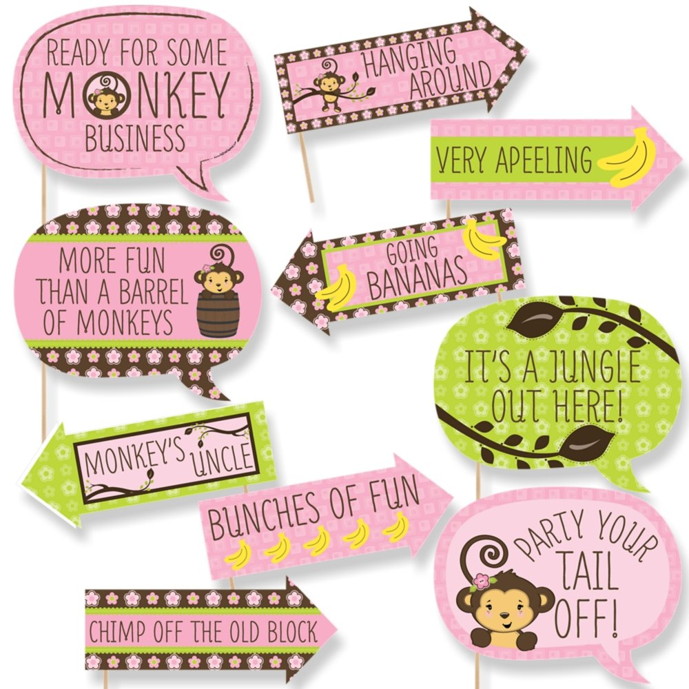 Funny Pink Monkey Girl - Baby Shower or Birthday Party Photo Booth Props Kit - 10 Piece by Big Dot of Happiness (Image #1)