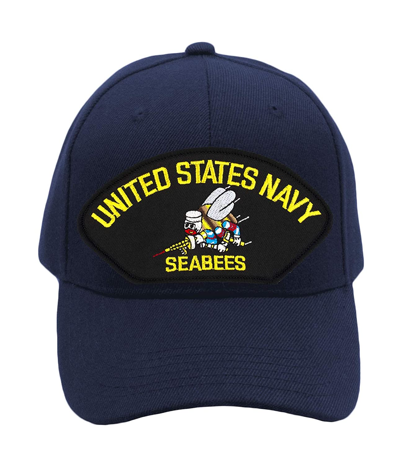 79e67c6b6d8 Patchtown US Navy Seabees Hat Ballcap Adjustable One Size Fits Most (Black
