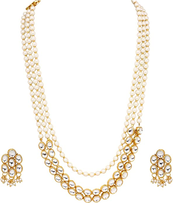 Vihan Indian Traditional High Quality Necklace Earrings Gold Tone Traditional Fashion Jewelry Set
