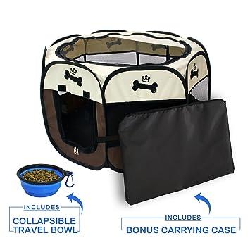 YOOBE Pet Portable Plegable Plegable Valla de Transporte y Recipiente de Viaje Plegable | Uso Interior. Pasa ...