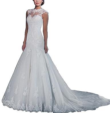 MaliaDress Women\'s Lace Tulle Mermaid Tail Wedding Dress Bridal Gown ...