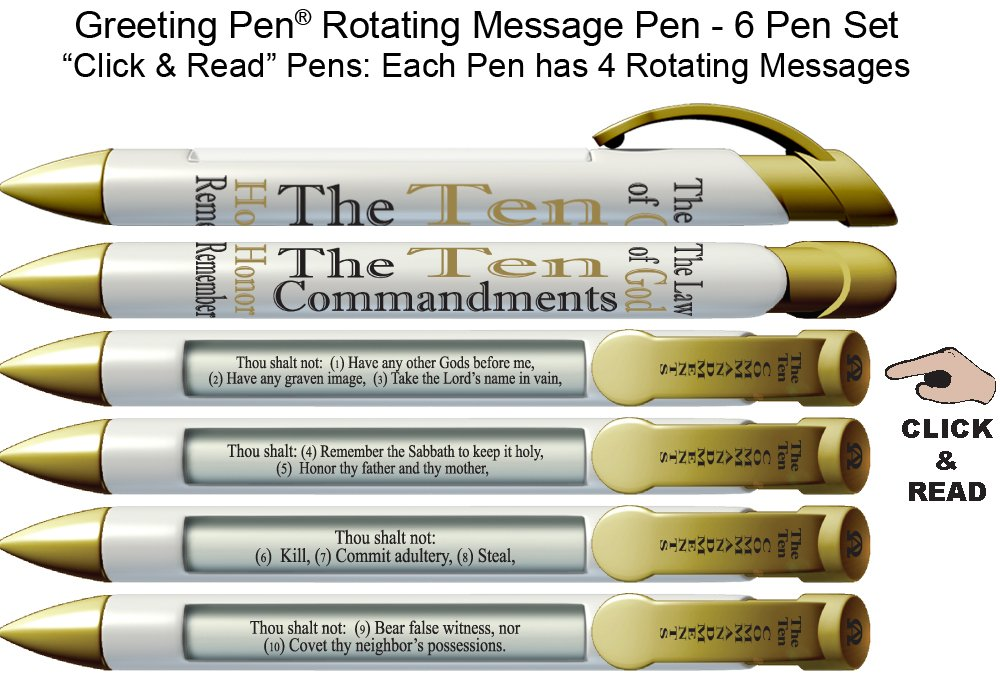 Amazon greeting pen 10 commandments scripture pens amazon greeting pen 10 commandments scripture pens scripture verses with rotating messages 6 pen set 36030 writing pens office products m4hsunfo