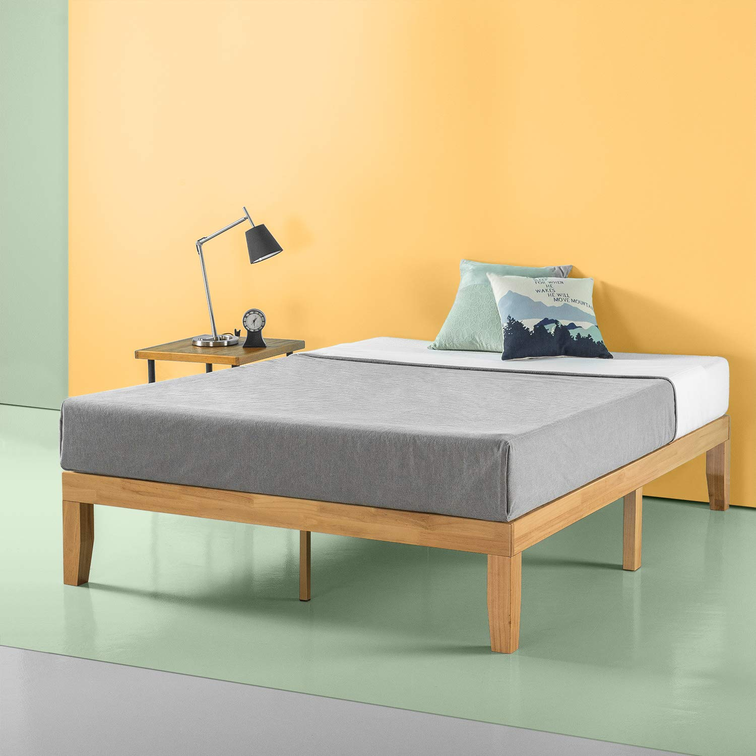 Zinus Moiz 14 Inch Wood Platform Bed / No Box Spring Needed / Wood Slat Support / Natural Finish, Full by Zinus