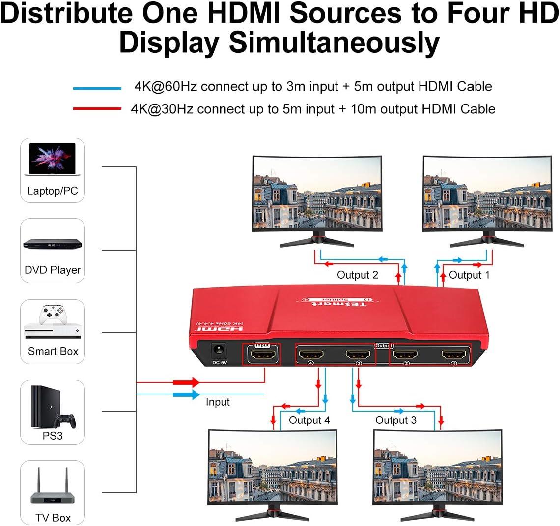 TESmart 1x2 HDMI Splitter 4K HDMI Powered 1 Entradas 2 Salidas HDMI Splitter Monitor Duplicaci/ón de Audio y Video Dual para Ultra HD 4K x 2K @60Hz //HDCP 2.2 //3D y HDR//HD STB