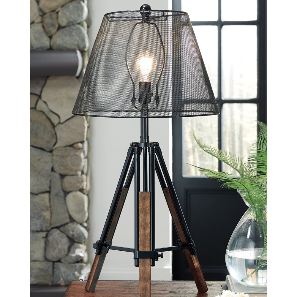 Ashley Furniture Signature Design - Leolyn Table Lamp with Metal Shade - Adjustable Height - Black/Brown by Signature Design by Ashley (Image #3)