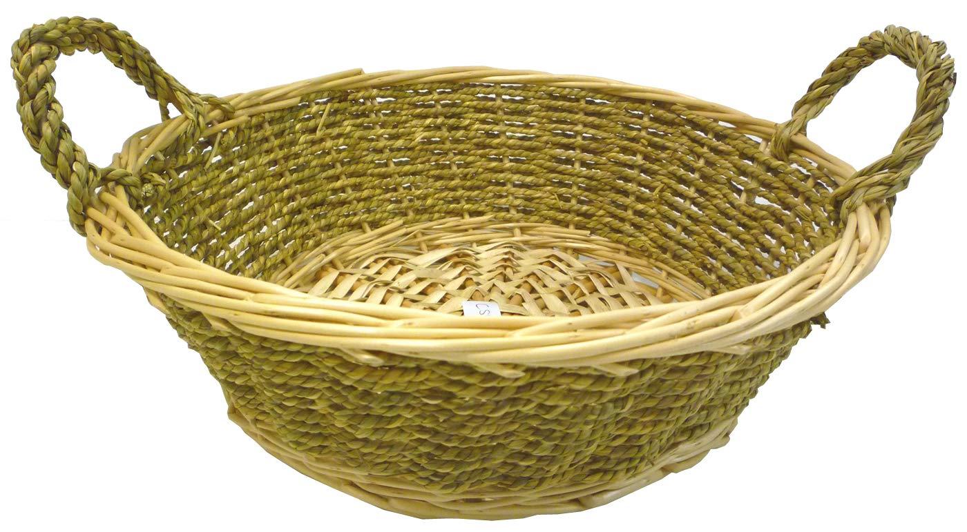 Savino Fiorenzo Cesto cesta cestino cestone tondo in vimini naturale chiaro e cordoncino verde con manici rotondo per confezione regalo SAVINO FILIPPO SRL