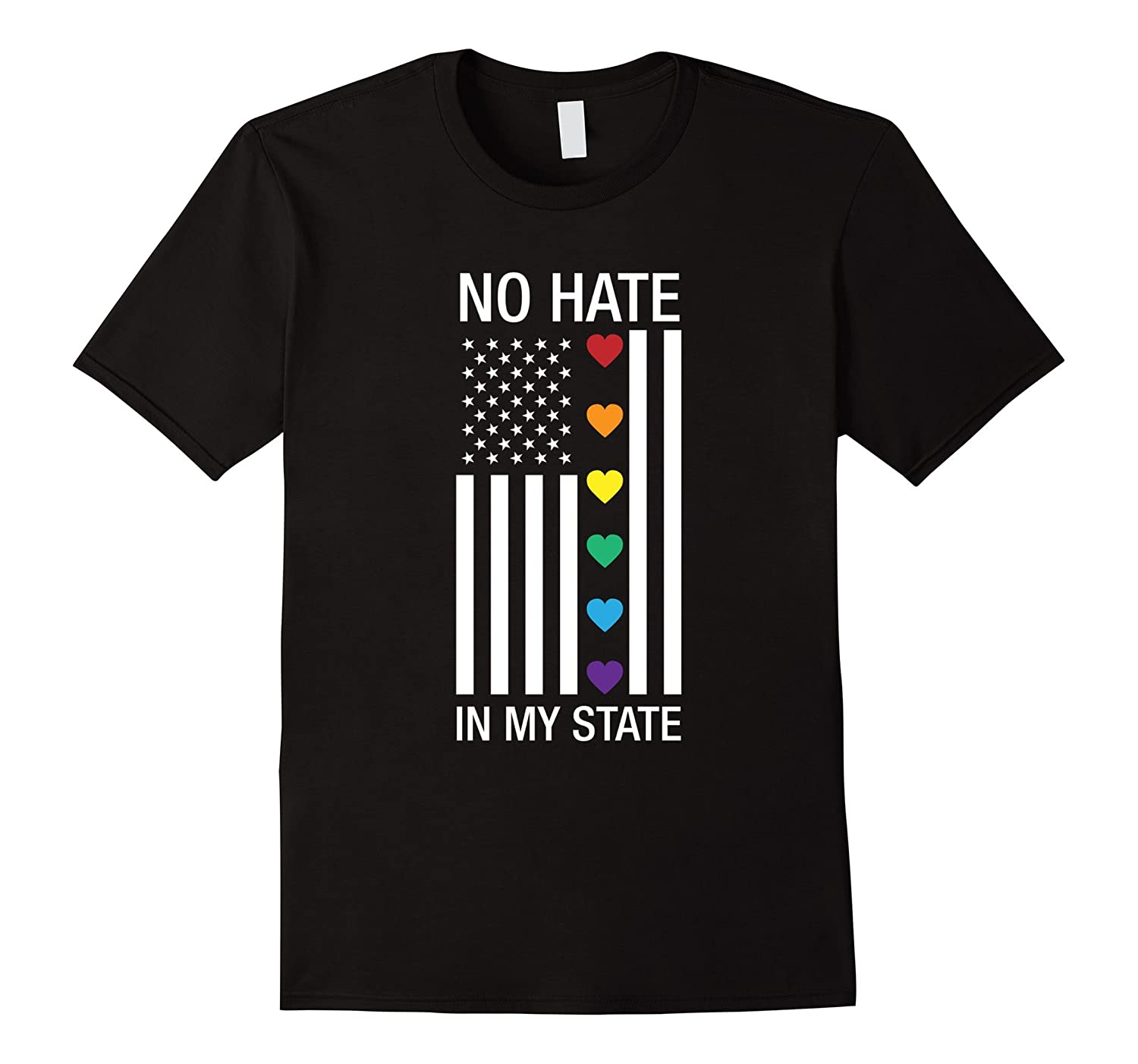 Gay Shirt No hate in my state Flag T-shirt-Vaci